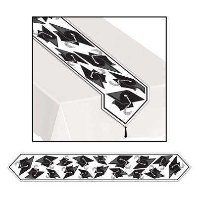 Printed Grad Cap Table Runner 11in x 6ft - Black