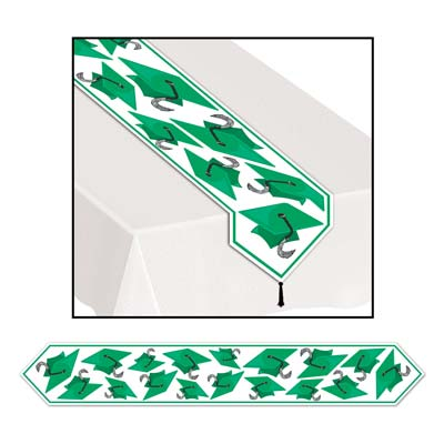 Printed Grad Cap Table Runner 11in x 6ft - Green