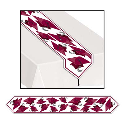 Printed Grad Cap Table Runner 11in x 6ft maroon