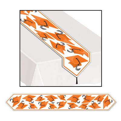 Printed Grad Cap Table Runner 11in x 6ft - Orange