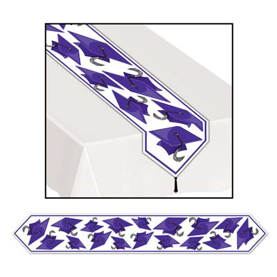 Printed Grad Cap Table Runner 11in x 6ft - Purple