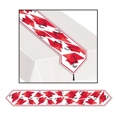 Printed Grad Cap Table Runner 11in x 6ft - Red