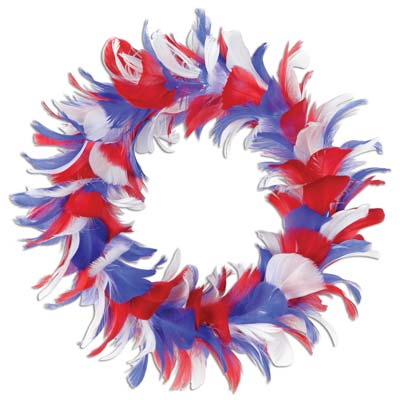 Feather Wreath 8in - Red White Blue