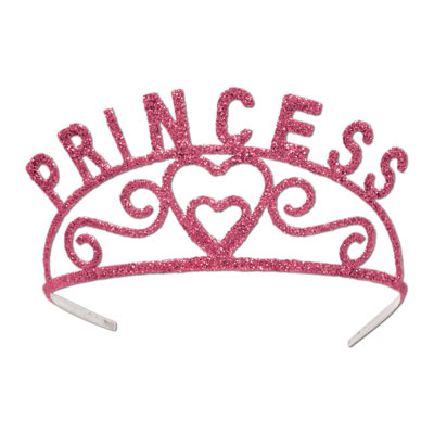 Glittered Metal Princess Tiara - Pink