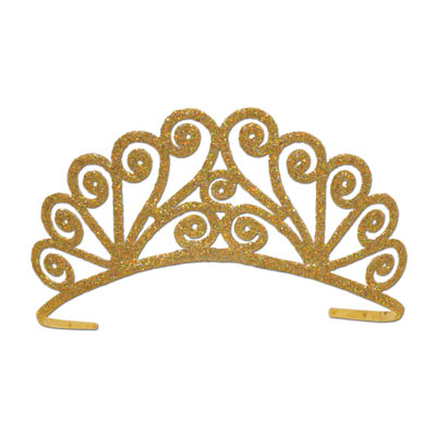 Glittered Metal Tiara - Gold