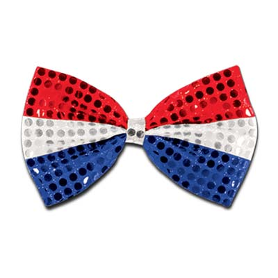 Glitz 'N Gleam Bow Tie 4.25x 7in - Red Silver Blue
