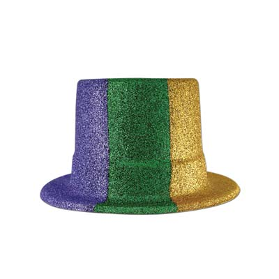 Glittered Mardi Gras Top Hat