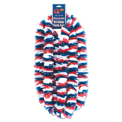 Soft-Twist Patriotic Poly Leis 2 x 36in - Red White Blue
