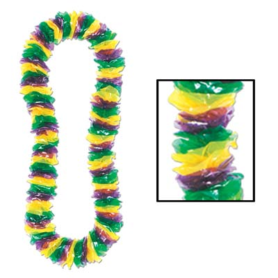 Soft-Twist Mardi Gras Poly Leis 2 x 36
