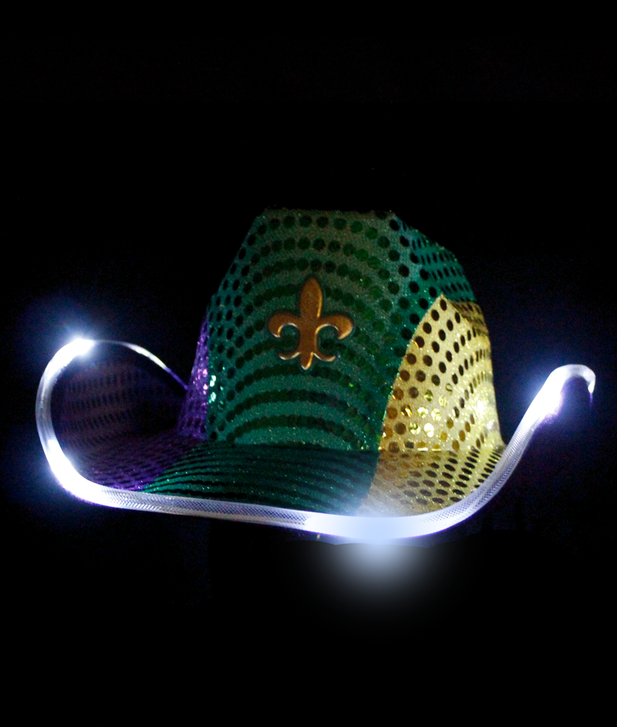 LED Cowboy Hat - Mardi Gras