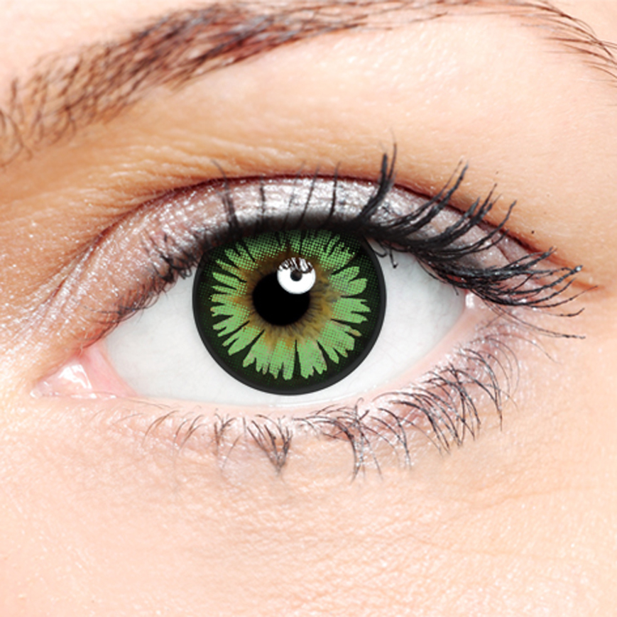 Crazy Halloween Contact Lenses - Green 2 Tone