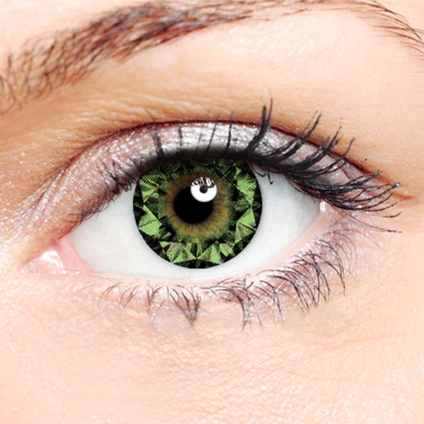 Crazy Halloween Contact Lenses - Green Diamond