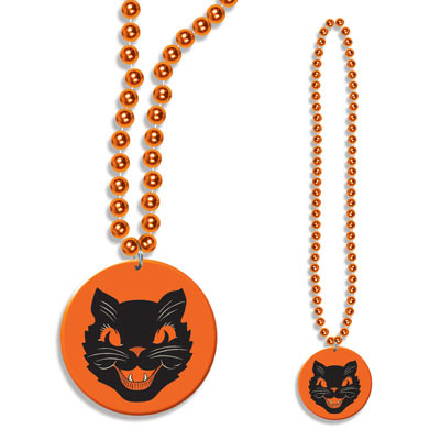 Vintage Halloween Cat Medallion Beads 33in