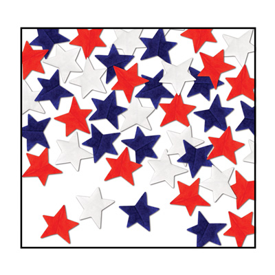 Tissue Star Confetti - red white blue .5 Oz