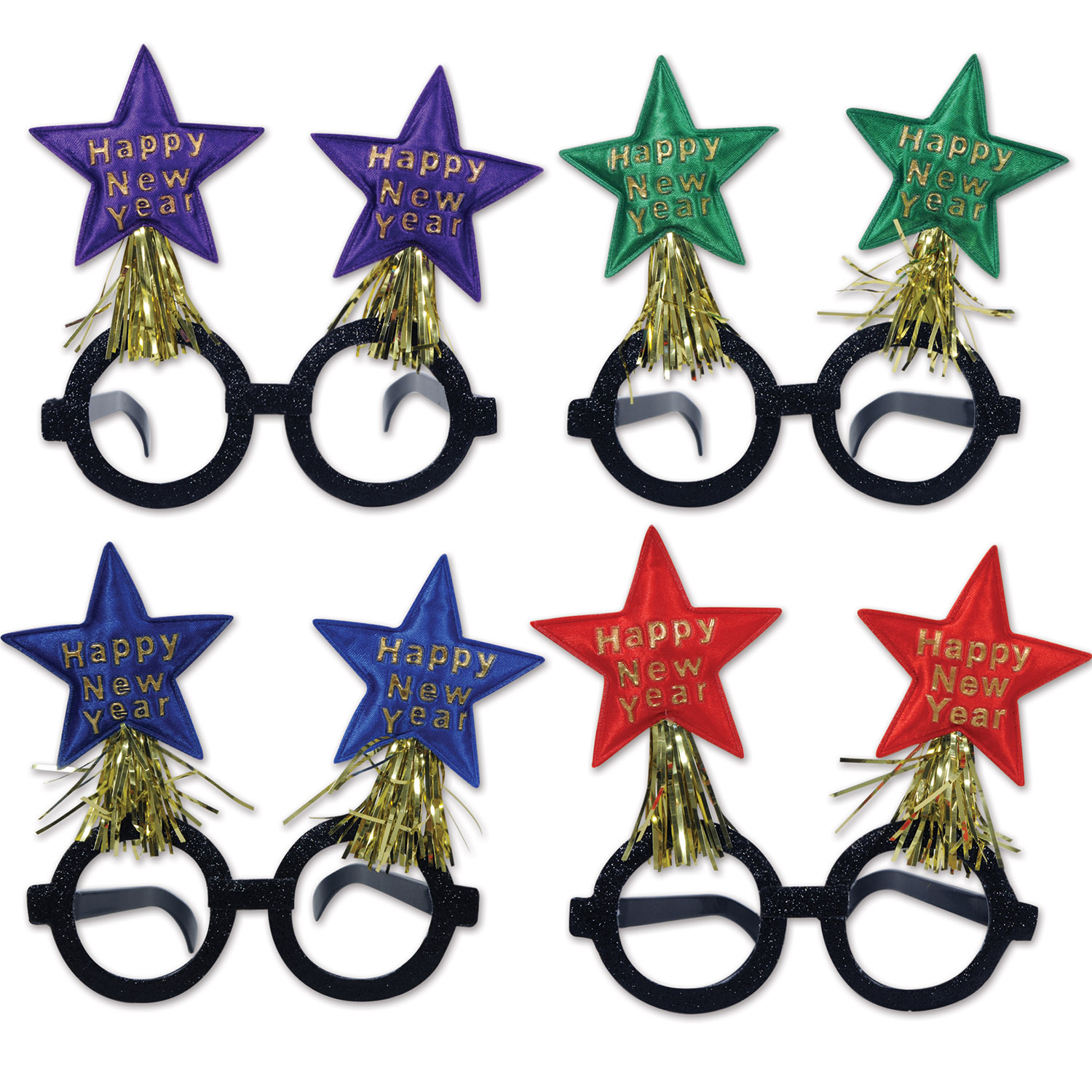 Glittered New Year Star Bopper Glasses asstd colors