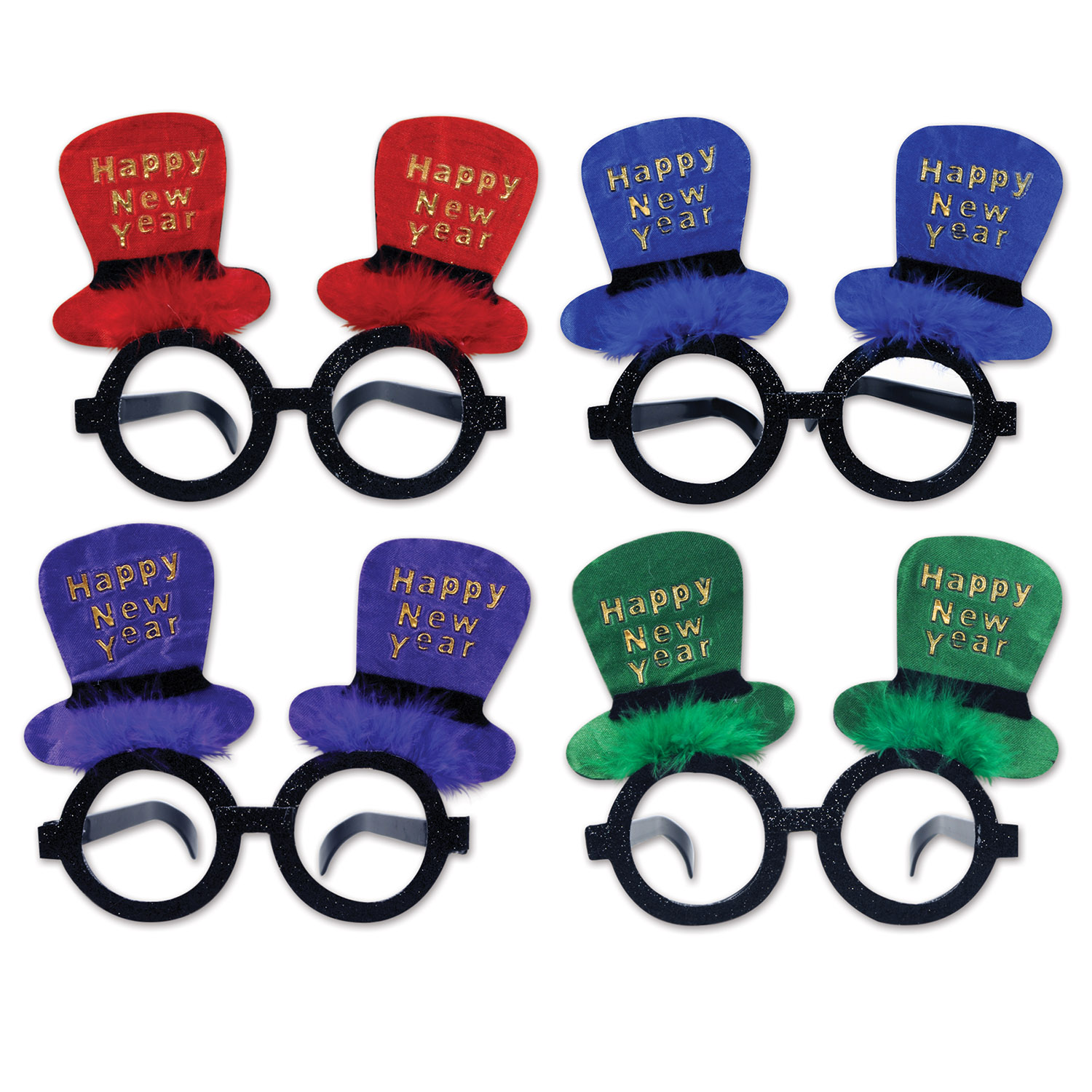 Glittered New Year Top Hat Glasses asstd colors