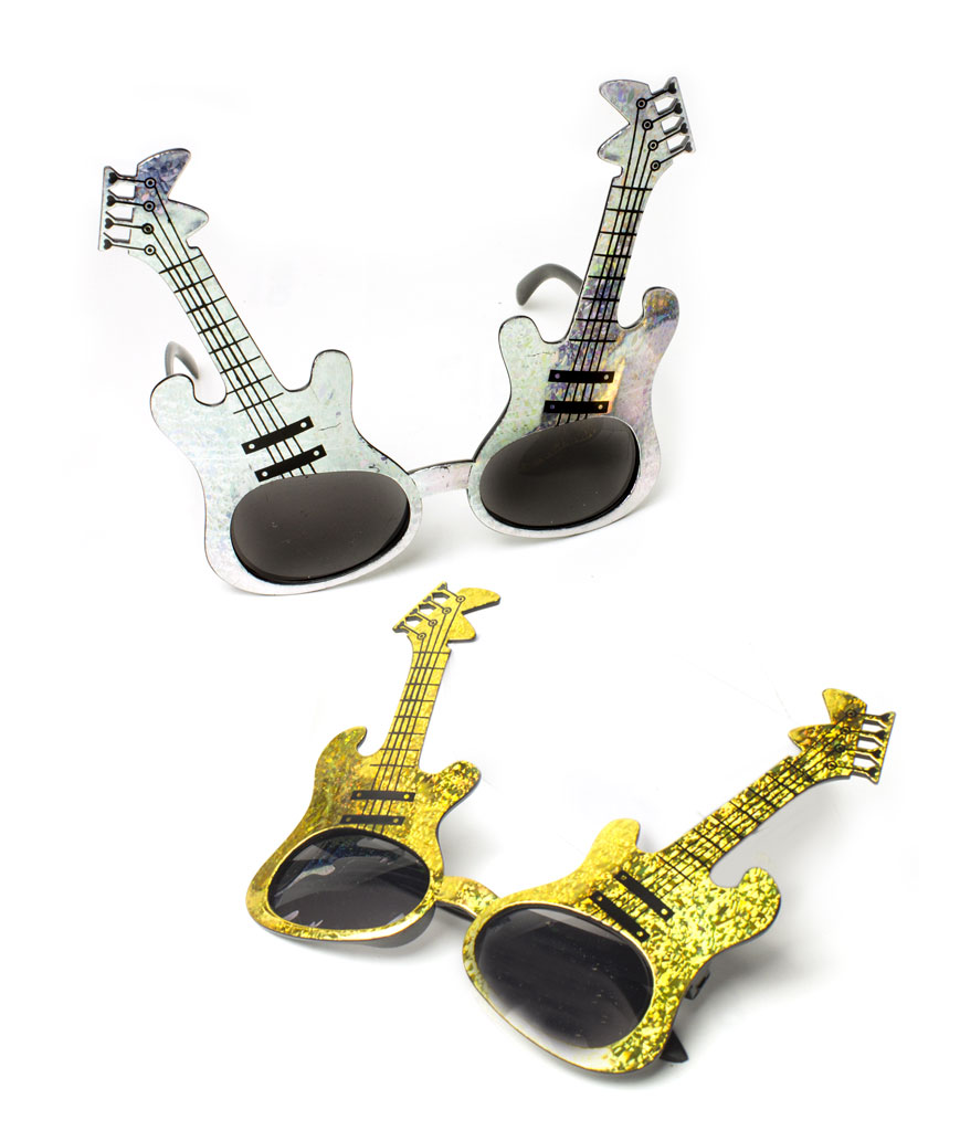 Fun Central AT797 Glitter Guitar Sunglasses - Assorted 12ct