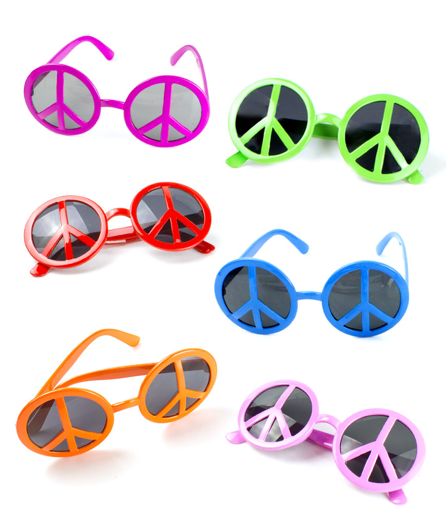 Peace Sign Sunglasses - Assorted 12ct