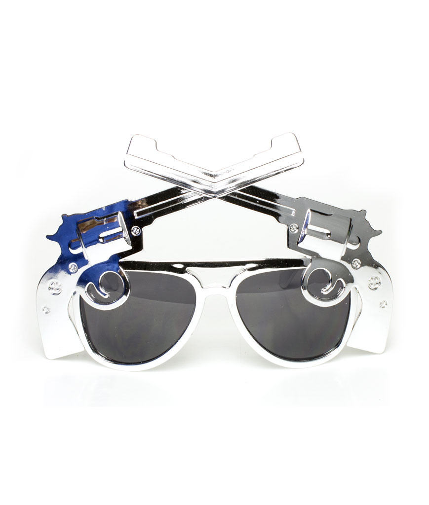 Fun Central AT796 Pistol Sunglasses - Silver