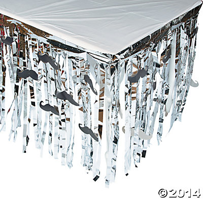 Foil Mustache Table Skirt with Cutouts