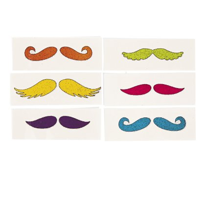 Glitzy Chicks Glitter Mustache Tattoos