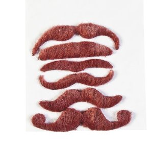 Synthetic Burgundy Mustache Assortment