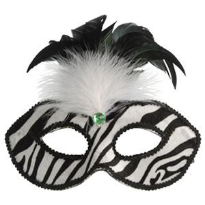 Zebra Print Feather Eye Mask
