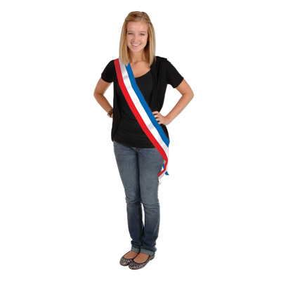 Patriotic Satin Sash 33x4in