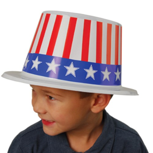 Stars and Stripes Plastic Patriotic Top Hats - 12ct