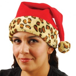 Santa Hat with Animal Print Trim