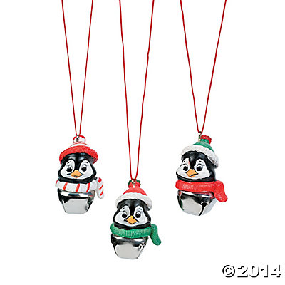Resin Penguin Metal Jingle Bell Necklaces