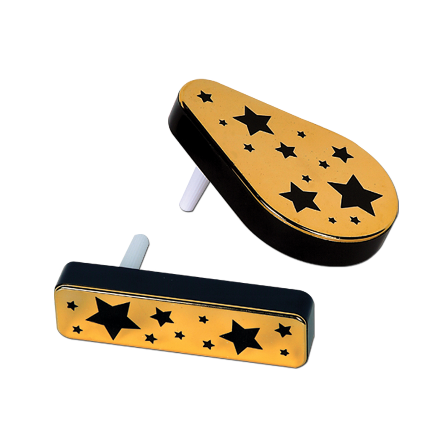 Plastic Metallic Noisemakers black & gold