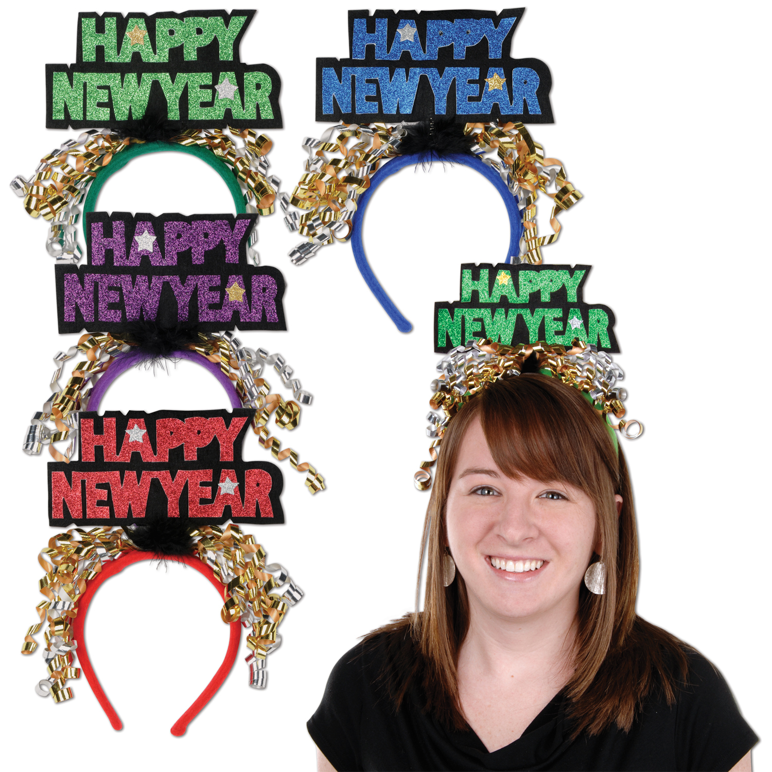 Glittered Happy New Year Headbands asstd