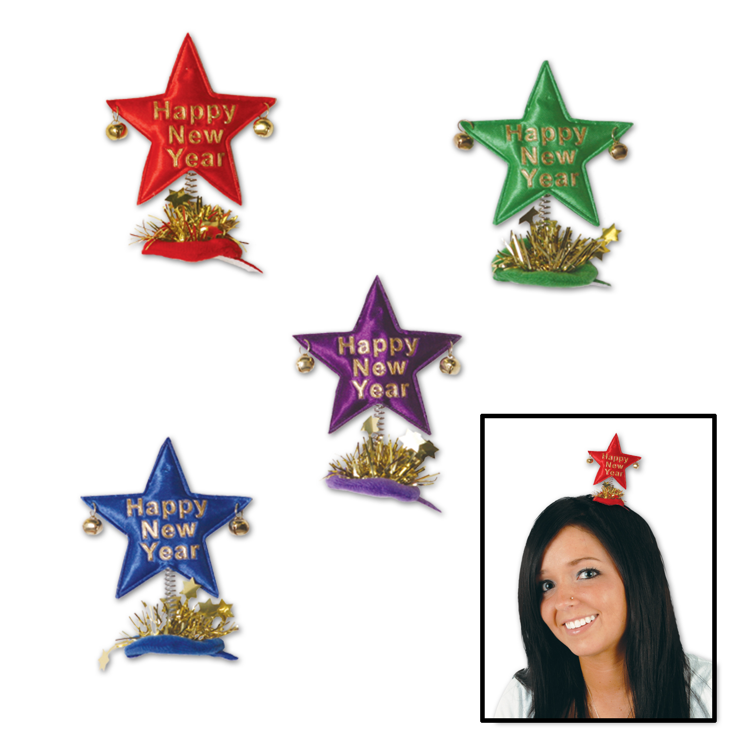 Happy New Year Star Hair Clips asstd