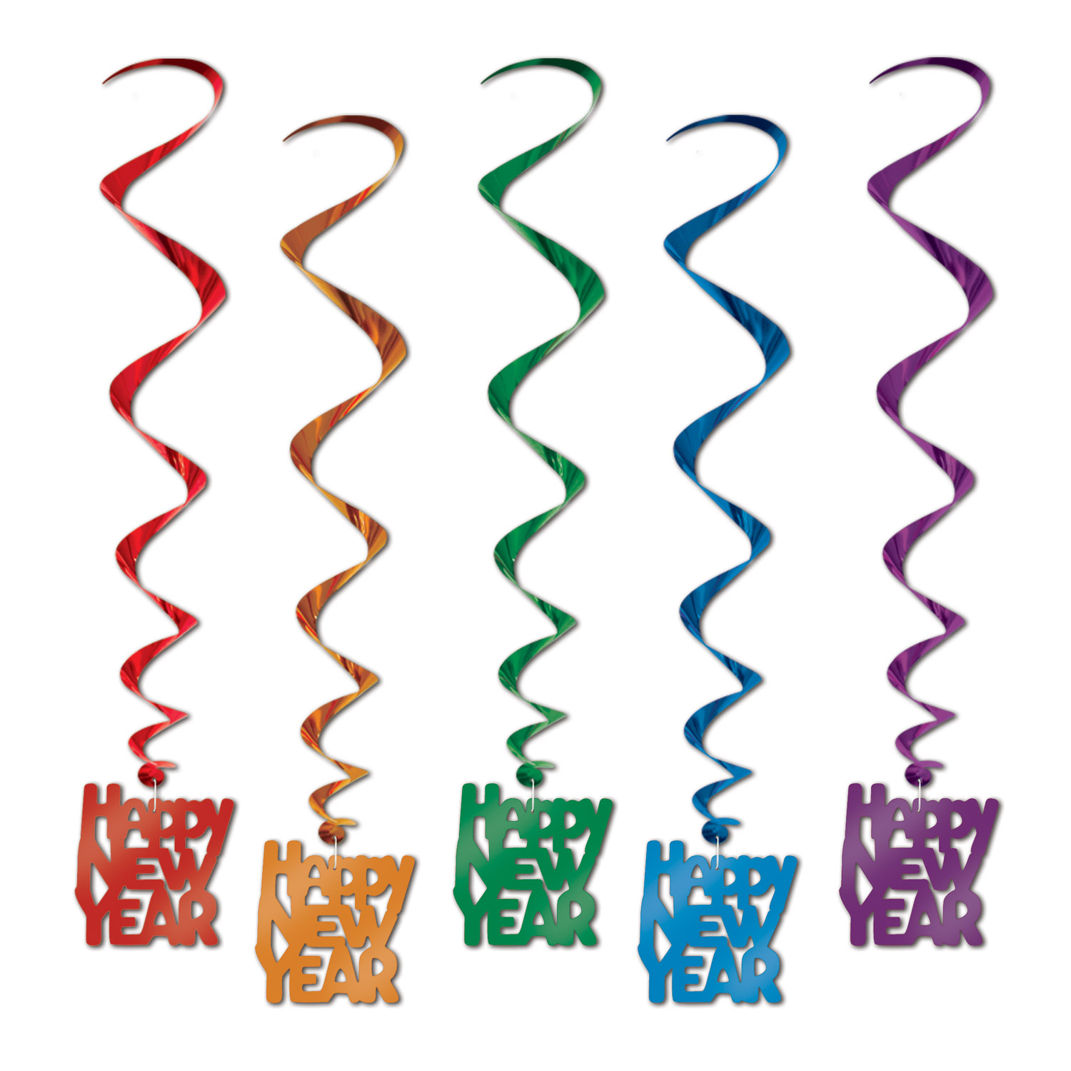 Happy New Year Whirls 33in asstd colors 5 Ct
