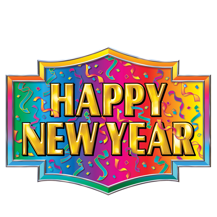 Happy New Year Sign Wall Cling 4ft 2in x 5ft 9in