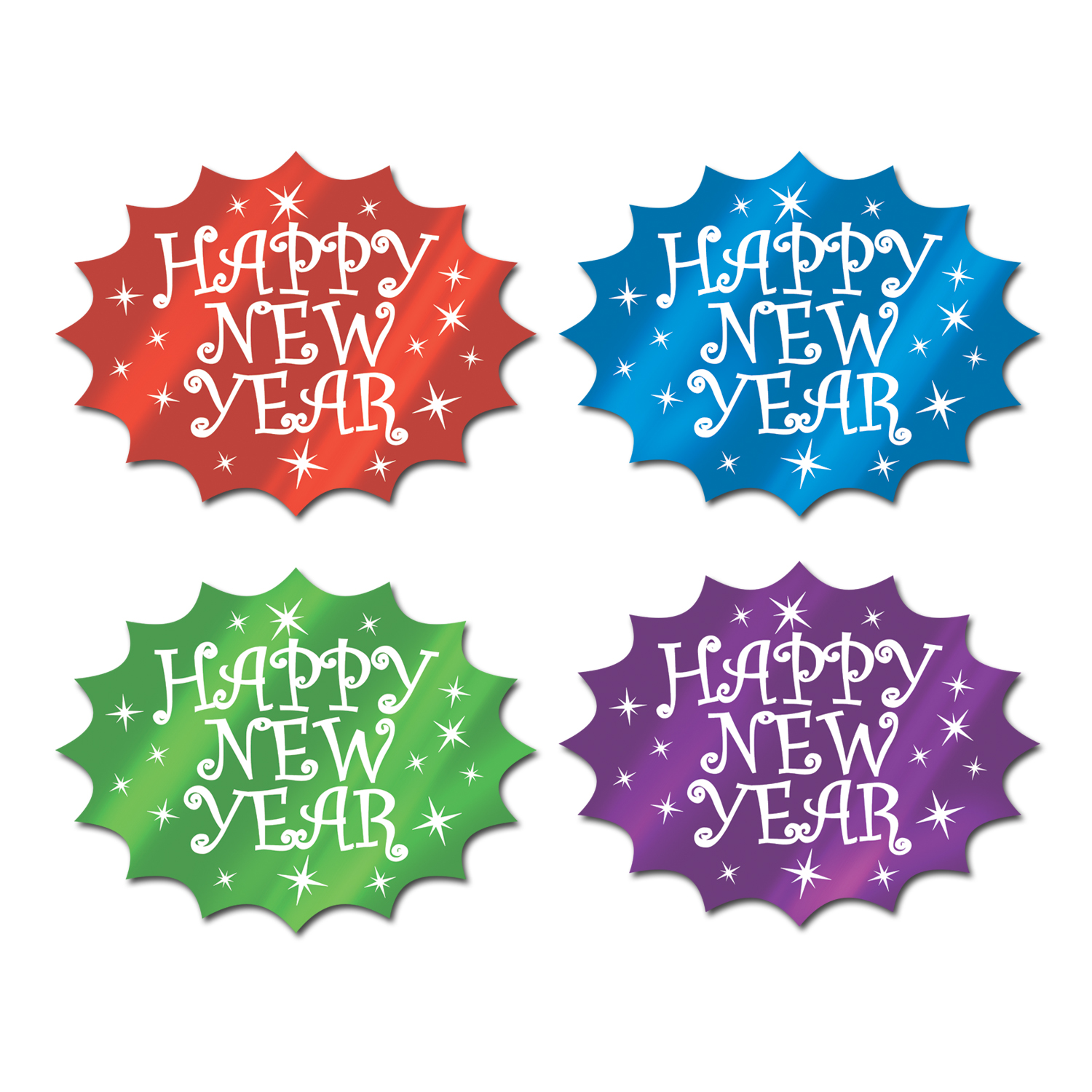 Foil Happy New Year Cutouts 14.75in asstd