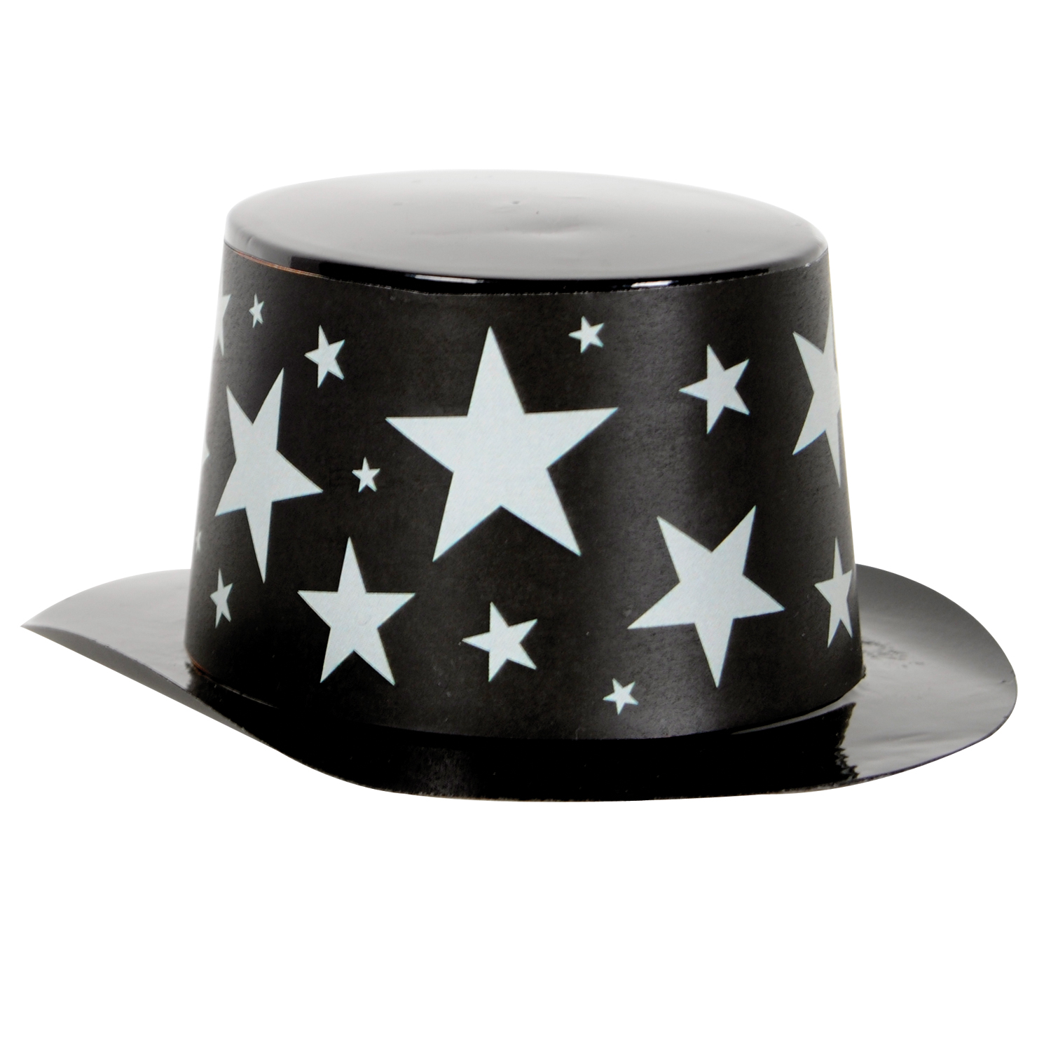Mini Black Plastic Topper Star Band 4.75x2in black & silver