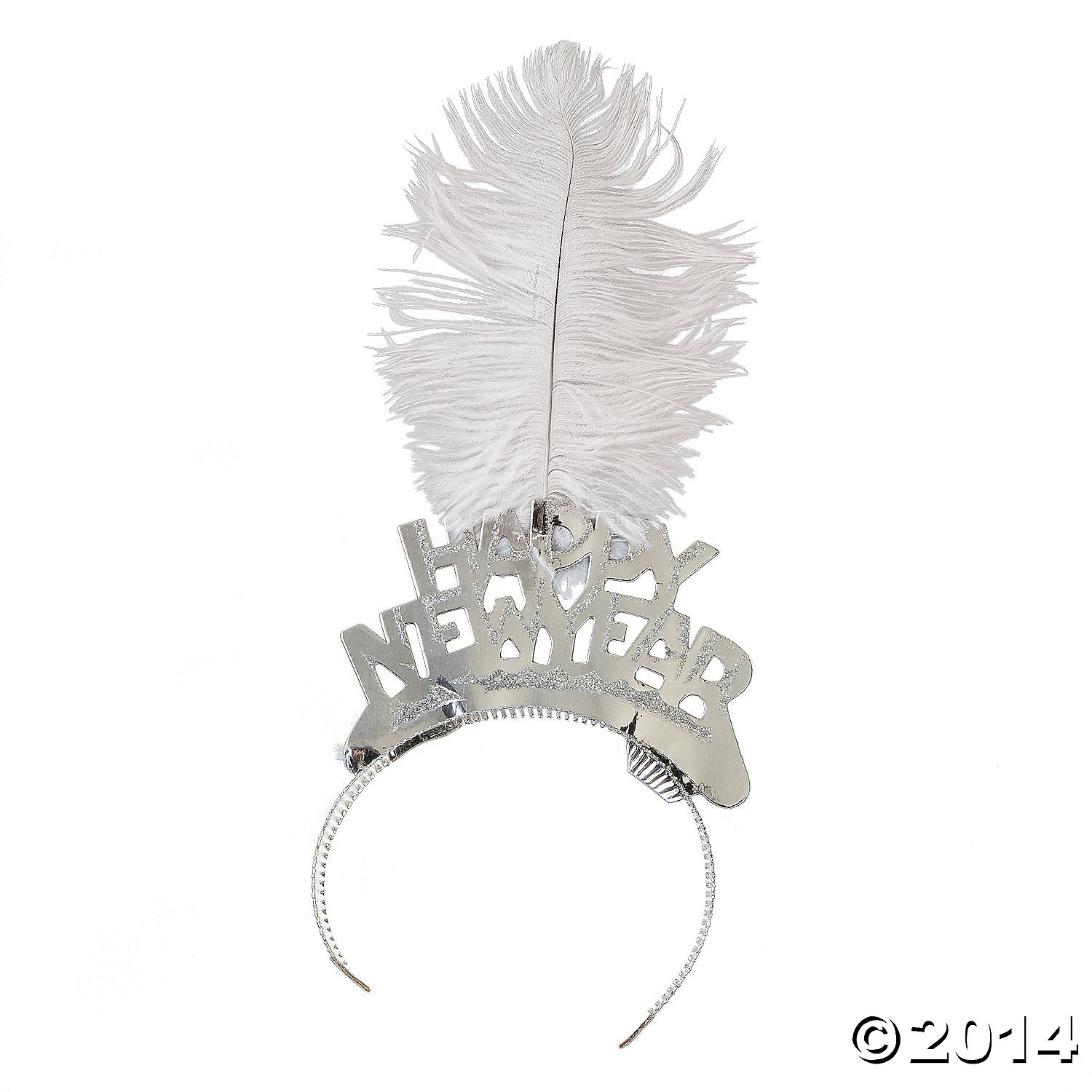 Silver Foil Tiaras with Plume Feathers