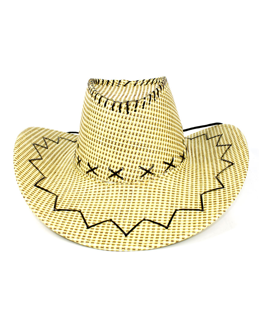 Stitched Straw Cowboy Hat