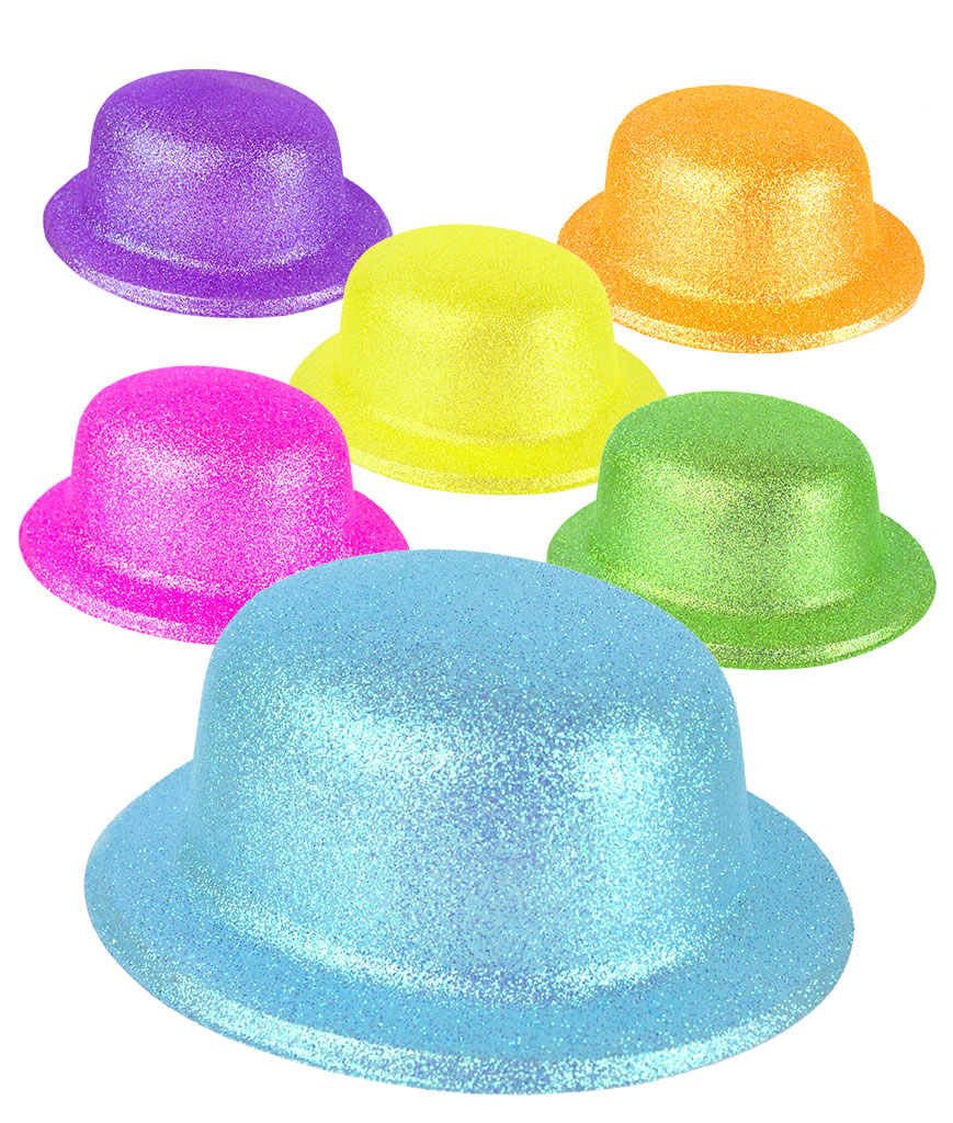 Glitter Derby Hats - Assorted 12ct