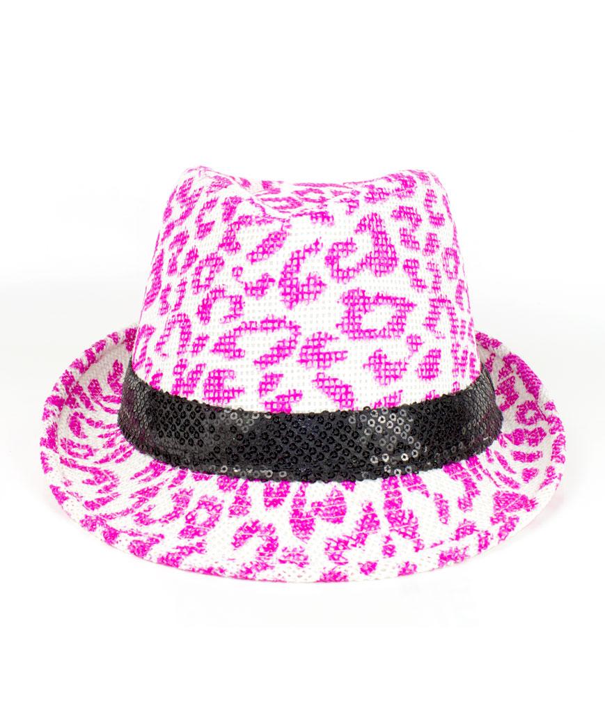 Leopard Print Neon Fedora - Pink