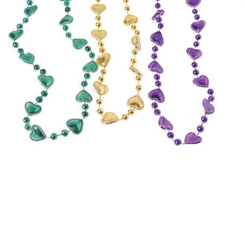 32 Inch Mardi Gras Heart Necklaces - 12ct