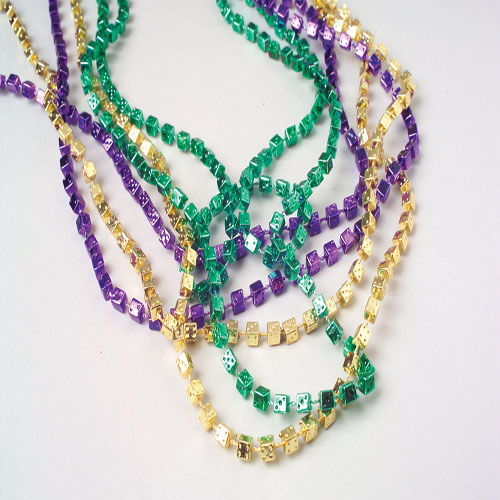 33 Inch Mardi Gras Dice Necklaces - 12ct