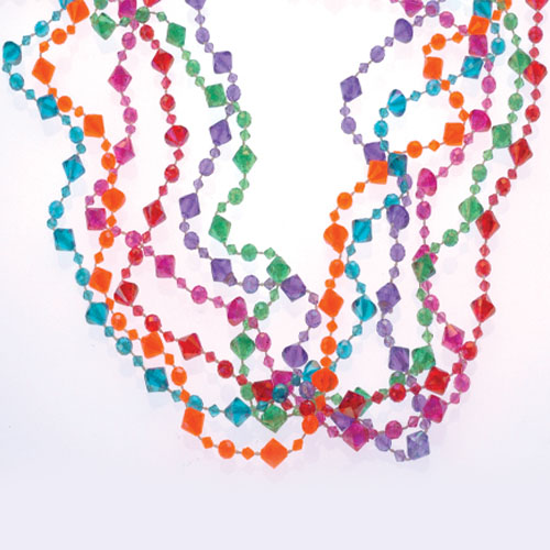32 Inch Pearlized Diamond Bead Necklaces - 12ct