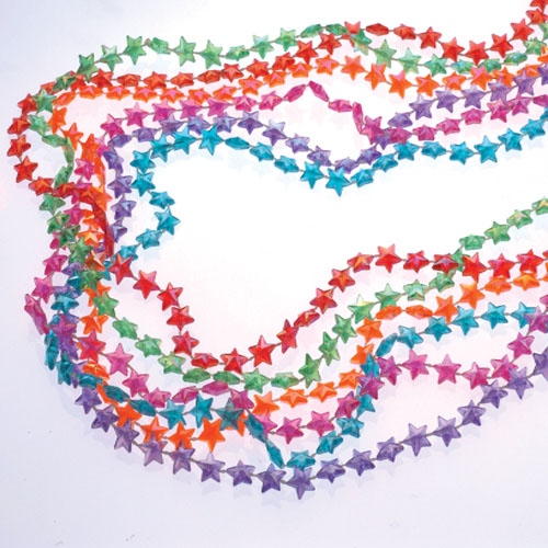 32 Inch Pearlized Star Bead Necklaces - 12ct