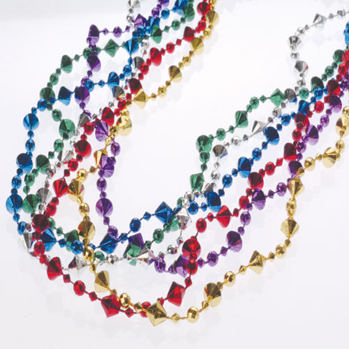 32 Inch Metallic Diamond Bead Necklaces - 12ct