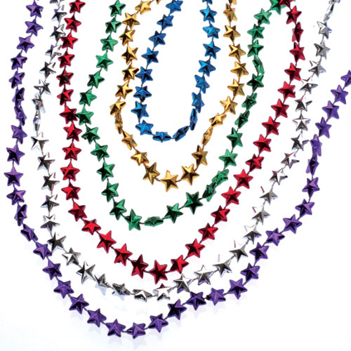 32 Inch Metallic Star Bead Necklaces - 12ct