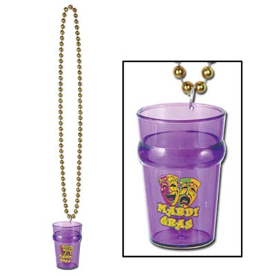 33 Inch Bead Necklace with Mardi Gras Shot Glass