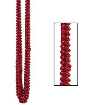 Party Beads - Small Round 7mm x 33 - Red